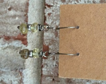 Simple lemon quartz and sterling earrings