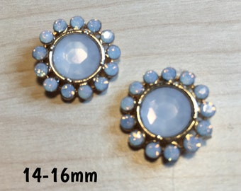 14mm-16mm flower shaped pearlescent faux opal plugs for stretched ears *vintage*