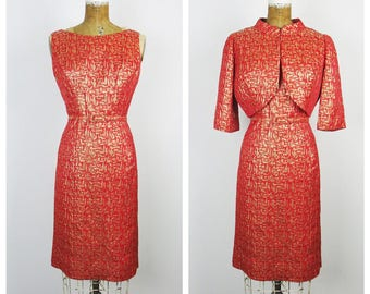 Vintage 1960s Dress / 60s Red and Gold Lamé Wiggle Dress Set / Medium 10-12