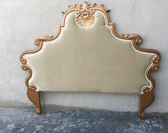 Hollywood Glam headboard, Gold,Velvet,Hollywood Regency, French Rococo, Mid Century Bed