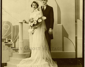 Art Deco Wedding Photo / Vintage Photograph / Old Sepia Picture /Bride and Groom Portrait