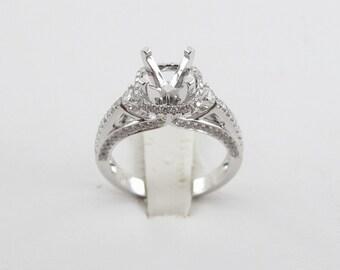 18k White Gold Diamond Engagement Semi Mount Ring 9.70 carat