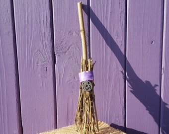 Birch Wood Besom, Pentacle Broomstick, Pentagram Charm, Pagan Amulet, Witch Broom, Altar Decoration, Spiritual Protection, Wooden Decor