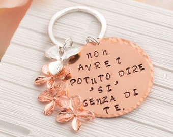 orchid wedding gift - sister in law gift with rose gold orchid jewelry as girlfriend birth keychain as MOH keychain as Mothers hold their