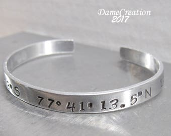 Longitude and Latitude Gifts, Coordinate Bracelet for Women Gift, Coordinate Friendship Jewelry Gift, Coordinate Bracelet Silver Jewelry