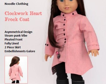 "18 inch Doll Clothes Pattern. Noodle Clothing ""Clockwork Heart Frock Coat"" PDF Pattern fits 18 inch dolls like American Girl®"