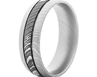Damascus Steel Ring with Dual Channels