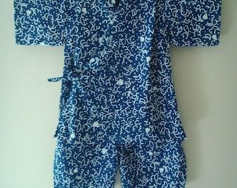 Toddler Kimono Set JInbei, Baby Kimono Japanese Cotton, Hospital Robe 3-4 years