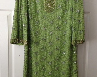 Vintage Dress Green Lace  with beads and sequin – De Paul New York Dress - Women's Size 10