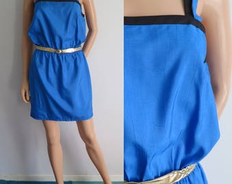 Blue evening party dress, strappy, french vintage, short mini dress, textured satin, small