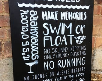 Pool Rules Wood Sign | White on Black
