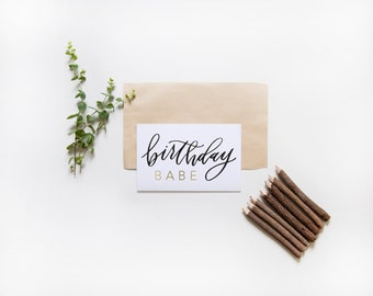 happy birthday card | birthday babe | hand lettered card | birthday card for gal pal | black and gold | gal pal card | girlfriends card