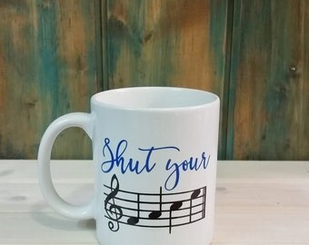 Music coffee mug, funny coffee mug, unique mug, coffee cup, music gift idea, personalized mugs