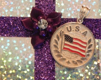 Vintage United States of America Country Flag Sterling Silver Pendant