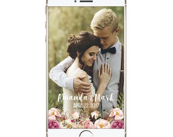 Wedding Geofilter, Snapchat Geofilter, Floral Wedding Snapchat Filter, Filter, Wedding Party, Personalized filter, Boho Rustic