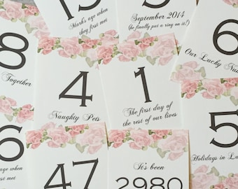 Rose Print | Numbered Meanings | Wedding Table Names/Numbers