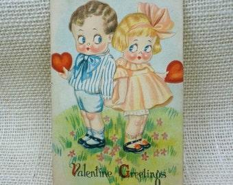 Antique Valentine Postcard // Big Eyed Boy Girl Valentine // c. 1910's 1920's