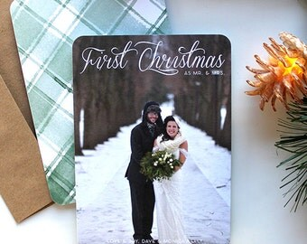 Christmas/Holiday Card with Photo - 5x7 - First Christmas as Mr. and Mrs. - Rustic Plaid - Printable and Personalized