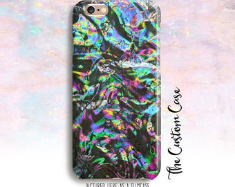 Black Opal, Crackled Rainbow Phone Case, Holographic Foil Phone Case, Crackled FOIL Case, Iridescent Rainbow Phone Case, opal phone case