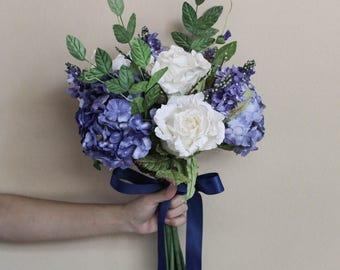 Wild Blue Bridal Bouquet, Alternative Wedding Paper Flower, Paper Bridal Bouquet, Keepsake Bouquet