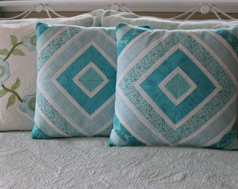"""Tantalizing Teal/Turquoise Handmade Patchwork 16"""" Decorative Accent Pillow Covers w/zippers, SET OF TWO"""