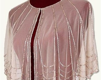 Wedding Cape Overlay Wrap with Sequins - One Size - Pink Champagne Color