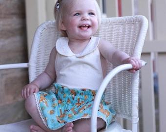 Girls Fox print skirt. Fox paper bag skirt. Toddler girls elastic waist skirt. Girls summer skirt. Cute Woodlands Fox skirt. Cotton skirt