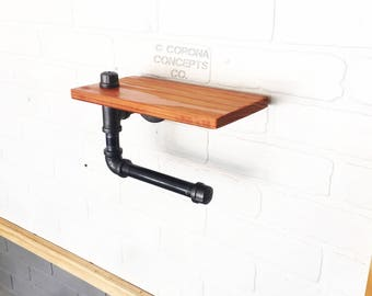 Red Wood Toilet Paper Holder and Shelf - Rustic Industrial