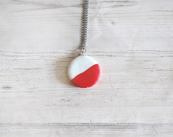 Modern round cold porcelain necklace red and white elegant design pendant necklace necklace for women jewelry stores jewellery fashion