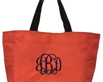 Embroidered Monogrammed Zip Tote