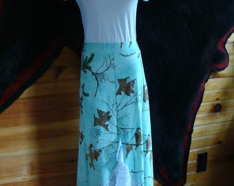 Hunting Camo, Maxi Skirt, Long Maxi Skirt , Made in USA, Custom Made, Womens,Plus Size,Teens, Lace,Teal Camo
