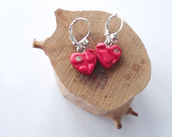 Red heart small earrings red shiny heart little earrings Valentines Day gift polymer clay jewelry red heart jewelry gift for her red jewelry