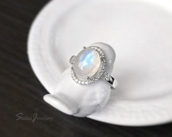 Moonstone Halo Ring Sterling Silver, Genuine Natural Blue Rainbow Moonstone, June Birthstone, Promise Wedding Engagement Anniversary Gift