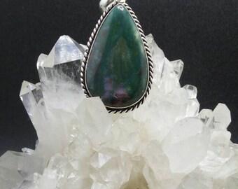 Bloodstone Teardrop Sterling Silver Pendant.