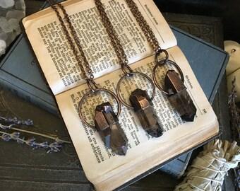 Smoky Quartz Necklace  Raw Crystal Jewelry  Raw Smoky Quartz Pendant  Large Copper Electroformed Necklace Gypsy Jewelry Healing Crystals