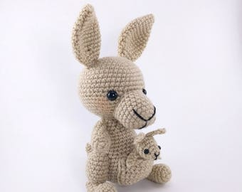 PATTERN: Crochet kangaroo and baby pattern - amigurumi kangaroo pattern - crocheted kangaroo - PDF crochet pattern - English only