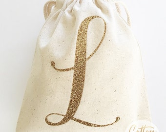 "Personalized Glittered Monogram Favor Bag |  5""x6"" or 8x10"" Personalized Favor Bag 