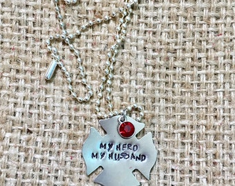 Firefighter Necklace, Firefighter Wife, Fire Wife Necklace, Stamped Necklace, Hand Stamped Jewelry, Thin Red Line, Firefighter Gifts