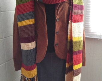 Hand-knit 4th Doctor Who Scarf