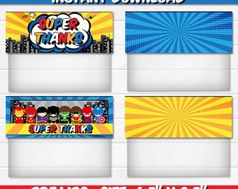 50% OFF SALE Treat bag toppers, Superhero, Superheroes, Super hero, Super heroes Instant Download, pdf jpg, Party Birthday