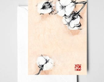 MOTHER'S DAY Cotton Flower Card, Unique Sumi-e painting on Rice Paper Symbol of Love Zen Illustration Ink Brush Drawing Floral