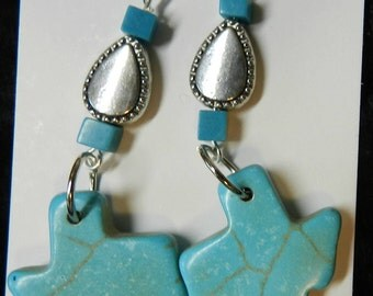 Earrings, Handcrafted, Turquoise, Silver tone, TEXAS, Lone Star State, Dangles