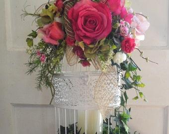 Hanging  Floral Decorated Bird Cage Roses Arrangement