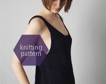Knit Top, The LITTLE BLACK Tank, Knit Cotton Top, Summer Knit Tank Top, Modern Knit Top, Knitting Pattern >> Instant Download <<