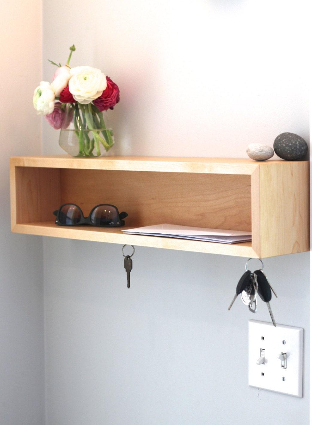Entryway Organizer / Floating Shelf with Magnetic Key Hooks in Choice of  Hardwood, Mid Century