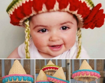 Sombrero Crocheted Mexican Hat sizes newborn to adult