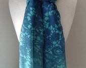 Cyan rectangle infinity scarf with blue flower pattern - Long and light weight for any season