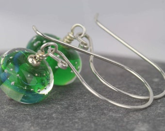 Swirl design earrings ~ unique earrings ~ blue and green ~  silver dangle earrings ~ statement jewellery ~ Sarah Downton beads