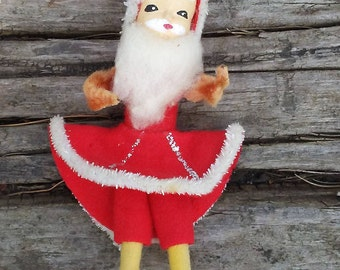 Vintage Ice Skating Santa Claus chenille trimmed figural Christmas ornament