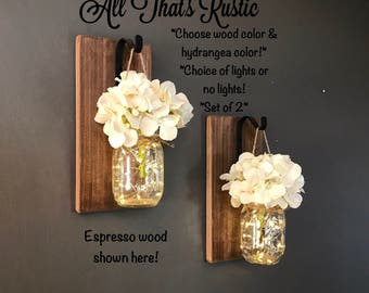 Rustic Home Decor, Home & Living, Set of 2 Hanging Mason Jar Sconces with Hydrangeas, Mason Jar Decor, Lighted Mason Jars, Mason Jar Sconces